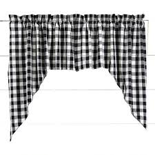 Curtain Pair 36 X36 X16 Pair Of Black Buffalo Check Swag Curtains Antique