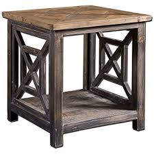 reclaimed wood end table amazon com uttermost 24263 spiro reclaimed wood end table kitchen
