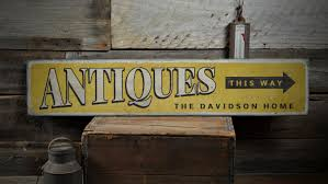 antiques this way wood sign custom family name home decor