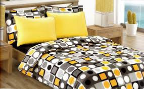Yellow Bedding Set Fantastic Black White And Yellow Circle And Square Pattern 6