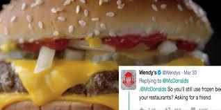 mcdonald u0027s gets seared by wendy u0027s over u0027fresh beef u0027 tweet