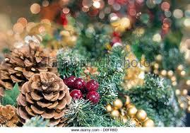 garland pine cones berries stock photos