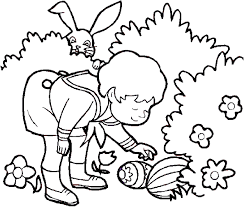 boy and easter in the garden coloring pages for kids eg
