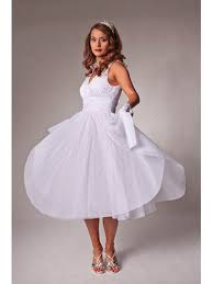 50 S Style Wedding Dresses 50 U0027s Style White Tulle Tea Length Party Dress Informal Wedding