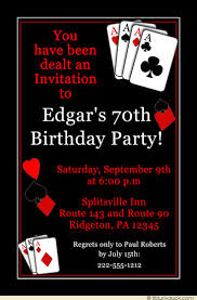 70th birthday invitation vegas style party winning hands cards