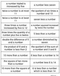 translating verbal expressions into algebraic expressions worksheets copy of translating lessons tes teach