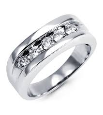 mens white gold wedding band mens 14k white gold diamond channel set wedding ring wedding