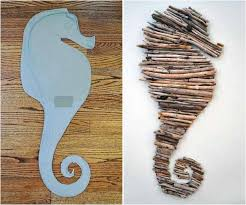 sea horse driftwood decor wall beach house beavers pinterest