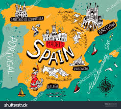 Map Of Valencia Spain by Illustrated Map Spain Stock Vector 383523706 Shutterstock