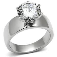 stainless steel wedding bands wide band solitaire cz womens stainless steel wedding ring size 5