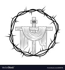 engraving sacred cross crown thorns royalty free vector