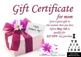 mother u0027s day gift certificate