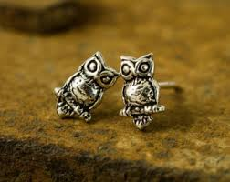 owl stud earrings owl stud earrings etsy