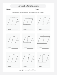 printables area of parallelogram worksheet calculate the area of