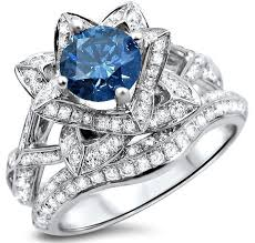 lotus flower engagement ring 2 05ct blue diamond lotus flower engagement ring set 14k