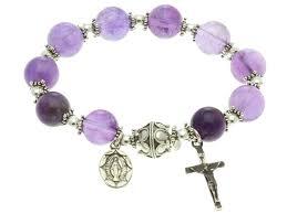 rosary bracelet sterling silver elastic rosary bracelet amethyst 10mm 7 sorrows
