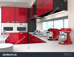 Modern Kitchen Interiors by Modern Kitchen Interior Red Color Theme Stock Illustration