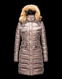 new listing moncler women dove grey long coats with fur collar