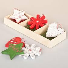 Large Christmas Decorations Uk by Gisela Graham Christmas Set Of 9 Wooden Christmas Decorations