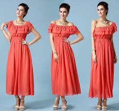 sale korean maxi dress for boat collar ruffle chiffon holiday