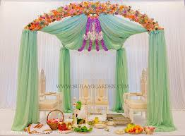 Wedding Arches Miami Suhaag Garden Mint Green Chiffon Drapes Florida Indian Wedding