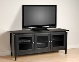 furniture black wooden television cabinets with glass doors and