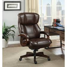 Home Office Desk Chairs La Z Boy Fairmont Biscuit Brown Bonded Leather Executive Office