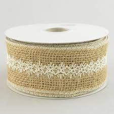 burlap and lace ribbon 2 5 burlap ribbon with ivory lace trim overlay 10 yards