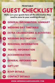 Best Wedding Guest List Template Best 25 Wedding Guest Abroad Ideas Ideas On Pinterest 2016