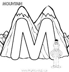 Coloriage Montagne et la lettre M dessin gratuit à imprimer