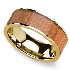 shine wedding band sapele wood inlay men s flat wedding ring in yellow gold woods