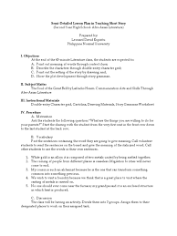 semi detailed lesson plan in teaching short story lesson plan
