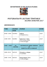 timetable faculty of health sciences