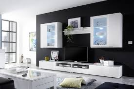 Wohnzimmer Beleuchtung Modern Wohnwand Weiss Hochglanz Mit Led Beleuchtung Woody 61 00192 Holz