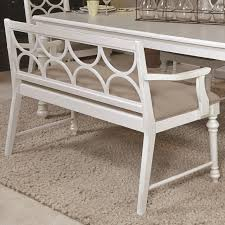 upholstered dining bench with decorative wood back by american