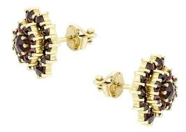 garnet stud earrings vermeil bohemian garnet stud earrings vintage