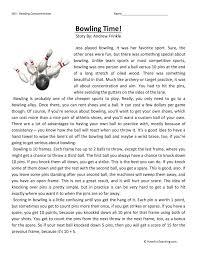 bowling time reading comprehension worksheet