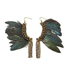 black feather earrings rara avis by iris apfel black feather beaded goldtone chain link