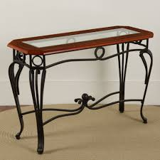 Under Sofa Tables by Scrolled Iron Glass Sofa Table Sturbridge Yankee Workshop
