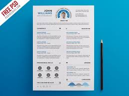 clean and infographic resume psd template download download psd