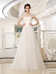 sweep ivory jewel neck a line strapless sequin wedding dress for