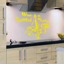 wine bottled poetry wall decal sticker quote lounge living yellow wine bottled poetry wall sticker above hob