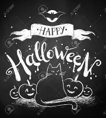 halloween background cat and pumpkin chalk drawing of happy halloween postcard with moon black cat