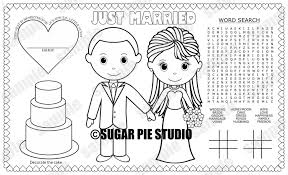 instant download printable bride groom coloring page place mat