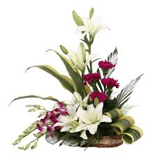 Red Carnations White Lilies Red Carnations U0026 Purple Orchids In A Basket U2013 J K