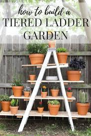 diy outdoor tiered ladder garden backyard decorations backyard