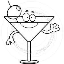 martini cartoon clip art cartoon martini waving black and white line art by cory thoman