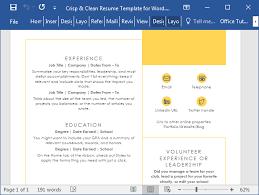 Resume Templates Com Crisp U0026 Clean Resume Template For Word