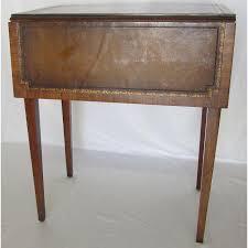 leather top side table vintage heirloom weiman drop leaf side table with leather top chairish