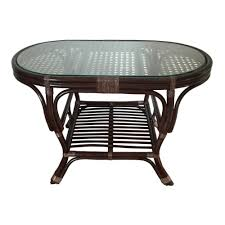 oval coffee table alisa color dark brown with glass top handmade
